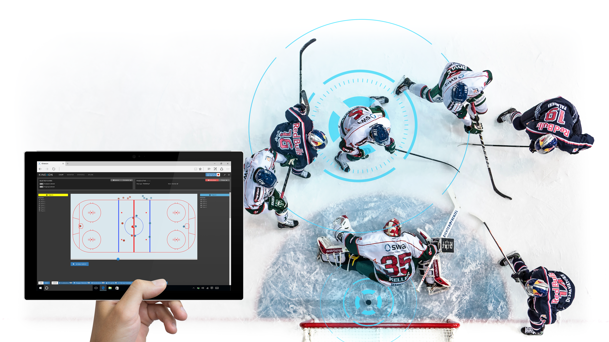 Photo collage using Ice Hockey Red Bull and the KINEXON Software Dashboard as examples