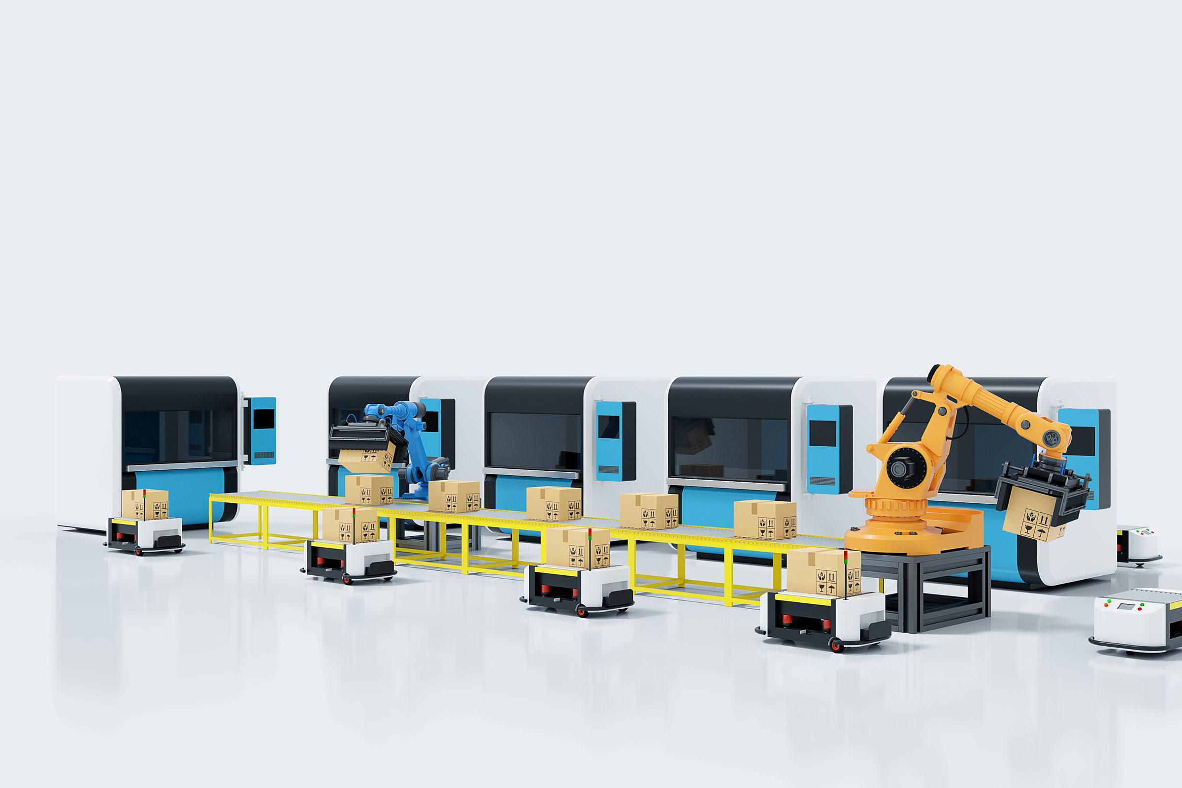 Fabrikautomation mit AGVs, 3D-Druckern und Roboterarm