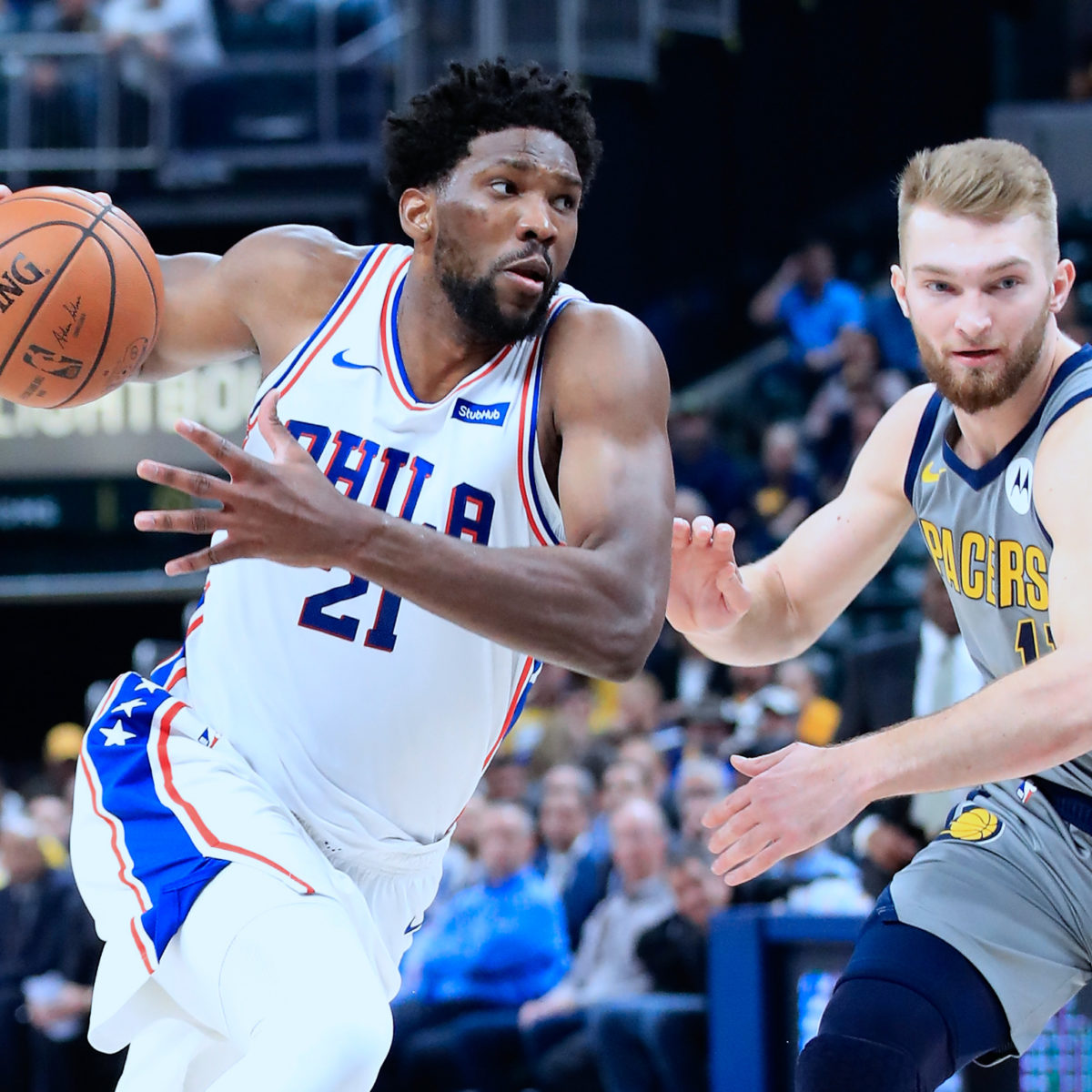 Joel Embiid of the Philadelphia 76ers dribbles the ball against the Indiana Pacers