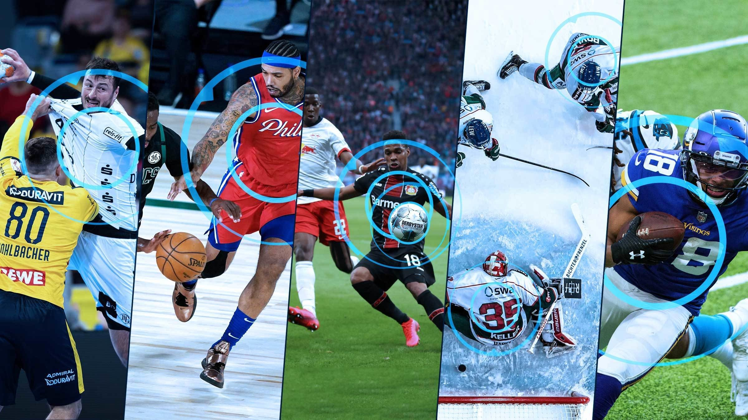 Image collage of different sport sections - Soccer, Basketball, Handball, Ice Hockey, American Football