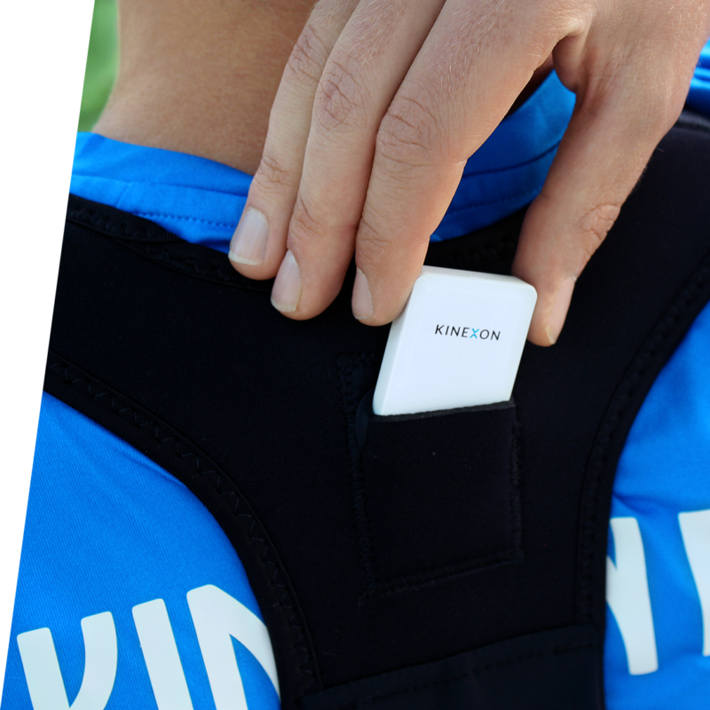 KINEXON Sensor placed between the shoulders of a soccer player