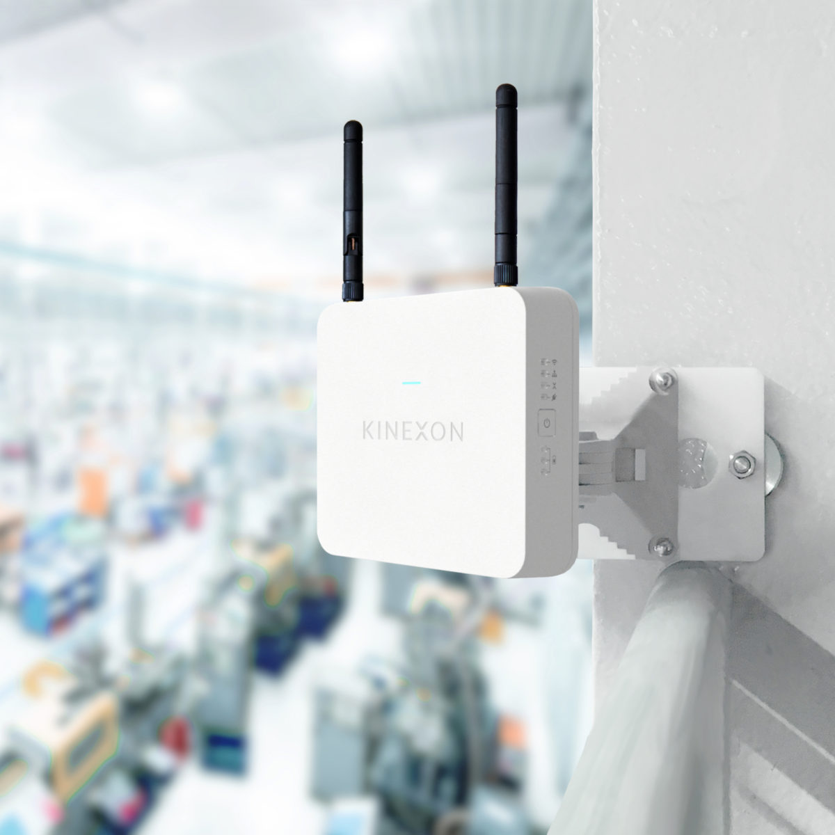 Kinexon Real-time locating system (RTLS) Anchor 8 in use of a large warehouse