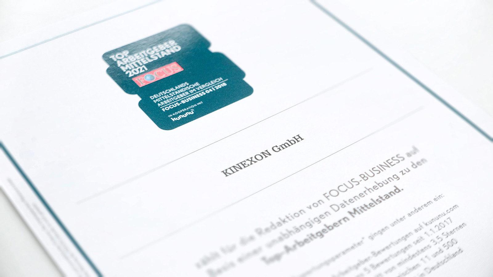 Certificate for KINEXON GmbH 2021